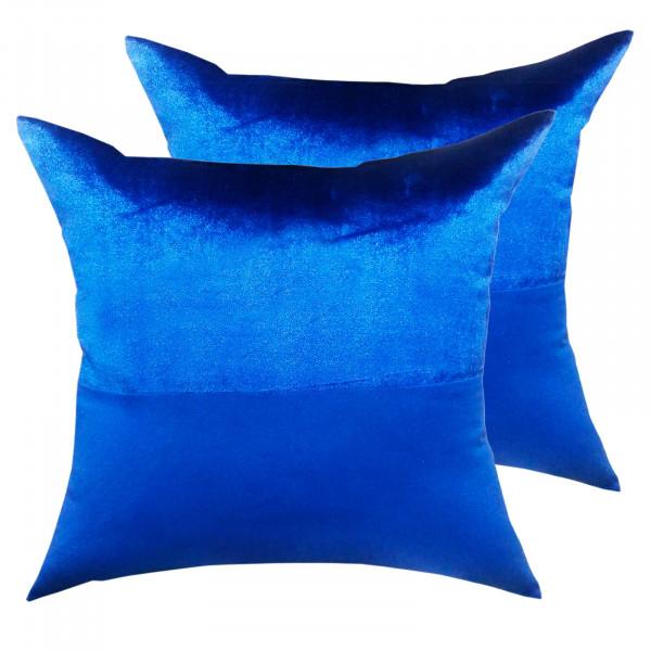 Zierkissen Set 2 Stück Deko Kissen Sofa Kissen Velour Samt 45 x 45 cm Doppellagen-Optik royalblau