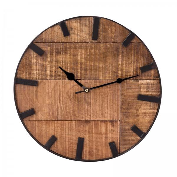 Wanduhr Wohnzimmeruhr aus Holz rund Vintage lautlos ø 30 cm quadratisch aus Mangoholz massiv