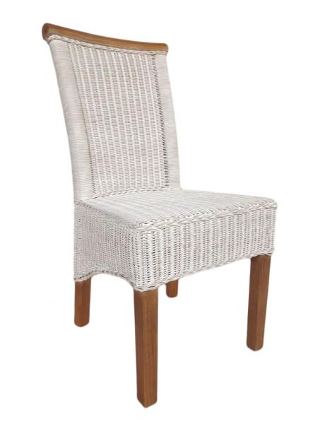 Esszimmer-Stuhl Rattanstuhl weiß Perth, Sitzkissen Leinen weiß