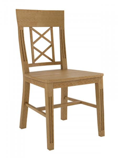 Esszimmerstuhl Chalet mit Holzsitz und 2 Kreuzen an der Lehne, Pinie massiv