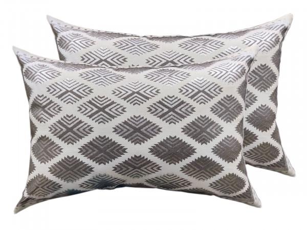 Deko Kissen Set 2 Stück Zierkissen Sofa Kissen 50 x 35 cm Baumwolle metallic silver coolgrey