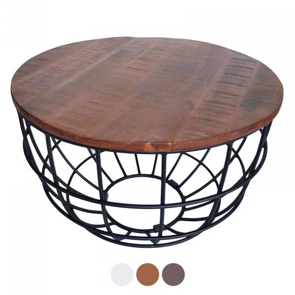 Couchtisch Wohnzimmer-Tisch rund Beistelltisch Lexington ø 55 cm Metall Drahtgestell Gitter massiv