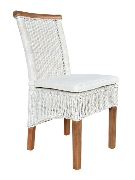 Esszimmer-Stuhl Rattanstuhl weiß Perth Sitzkissen Leinen weiß
