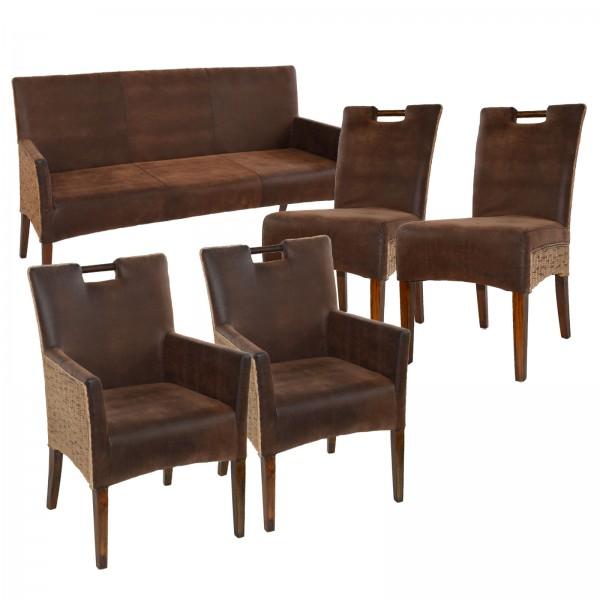 Rattan-SET Bilbao Sitzbank mit 2 Rattan-Stühlen und 2 Armlehner Bilbao vollgepolstert