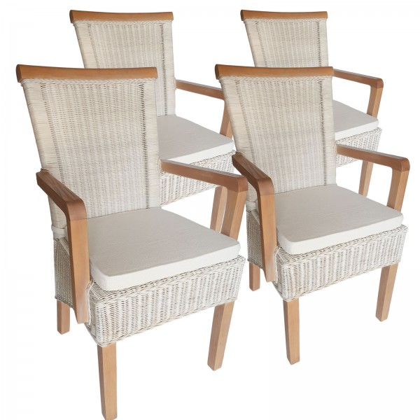 Esszimmer-Stühle-Set mit Armlehnen 4 Stück Rattanstuhl weiß Perth mit/ohne Sitzkissen Leinen weiß