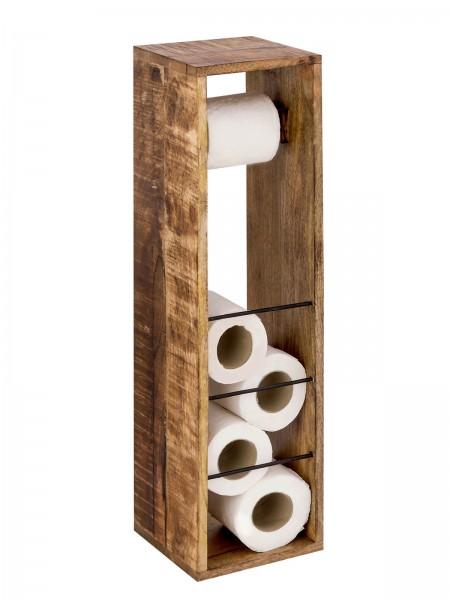 Toilettenpapierhalter Toilettenpapierständer aus Holz 17 x 17 cm quadratisch Hocker Mangoholz massiv