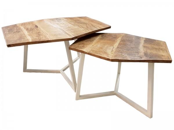 Couchtisch Set 2 Stück Wohnzimmer Tisch Satztisch Paris Metall-Gestell schwarz oder weiß