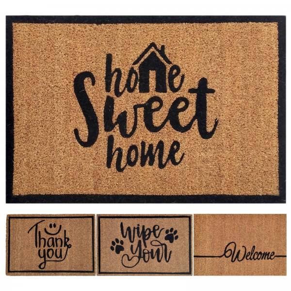 Kokosmatte 60 x 40 cm Fußmatte Türvorleger Fußabtreter Schmutzfangmatte für Haustür