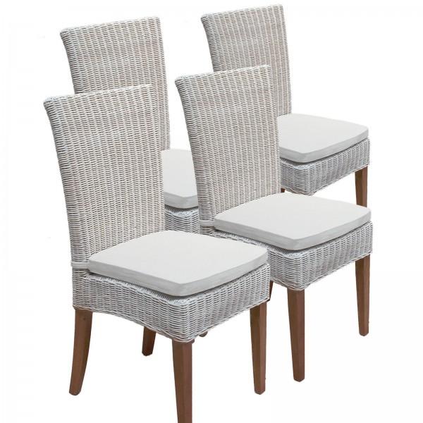 Esszimmer Stühle Rattanstühle Wintergarten Cardine 4 Stück weiß mit/ohne Sitzkissen leinen weiß
