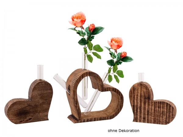 Tischdeko Herzen 3-teilig Blumenvase Hochzeitsgeschenk Hochzeitsdeko Mangoholz massiv