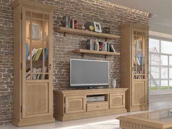 Wohnzimmer Schränke Set Wohnwand Duett 2 Vitrinen TV Lowbaord 2 Wandbords Duett Pinie massiv