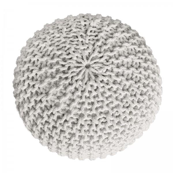 Pouf 2. Wahl Strickhocker Sitzpouf Grobstrick-Optik Ø 55 cm Höhe 37 cm weiß mit Verunreinigungen