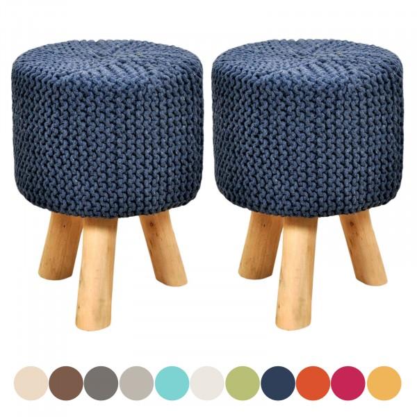 Sitzhocker Set 2 Stück Strick-Hocker Pouf Schemel mit Holzfüßen Ø 35 cm Höhe 45 cm viele Farben