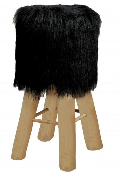 Barhocker Bistrohocker Kunstfell schwarz oder weiß mit Holzfüßen Ø 35 cm Höhe 72 cm