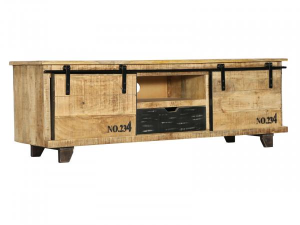 TV-Lowboard Fernsehschrank Mangoholz rustikal mehrfarbig Shabby Chic Vintage massiv 135x45x40 cm