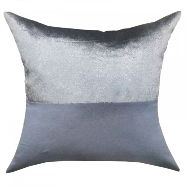 Deko Kissen Zierkissen Sofa Kissen Velour Samt 45 x 45 cm Doppellagen-Optik silbergrau/royalblau