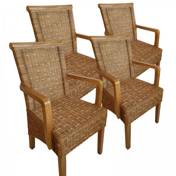 Esszimmer Stühle Set mit Armlehnen 4 Stück Rattanstühle braun Perth