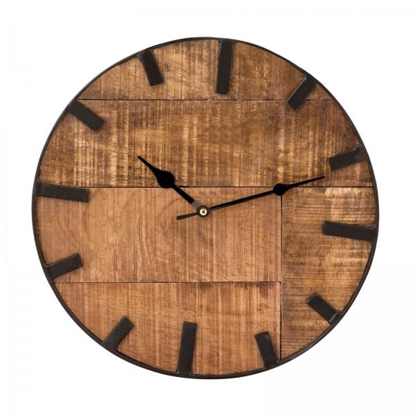 Wanduhr Wohnzimmeruhr aus Holz rund Vintage lautlos ø 30 cm aus Mangoholz massiv
