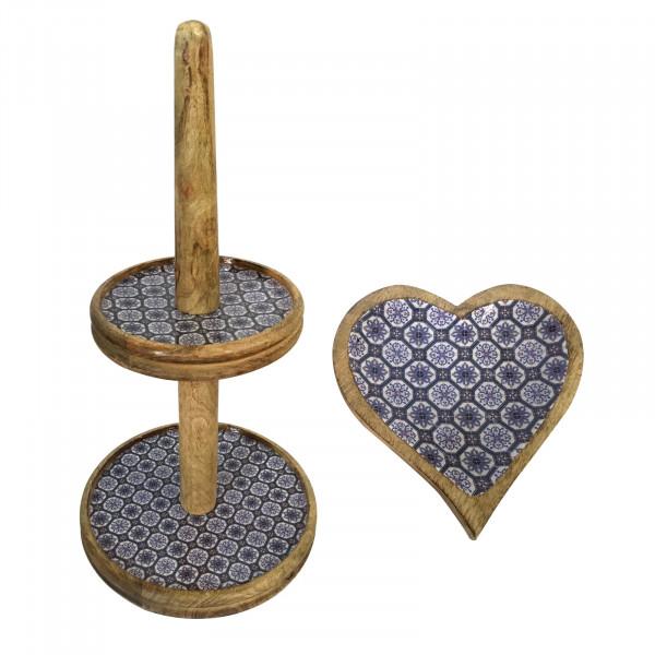 Etagere Set mit 1 Knabber Teller Herz Mangoholz mit Keramikdekor lebensmittelgeeignet