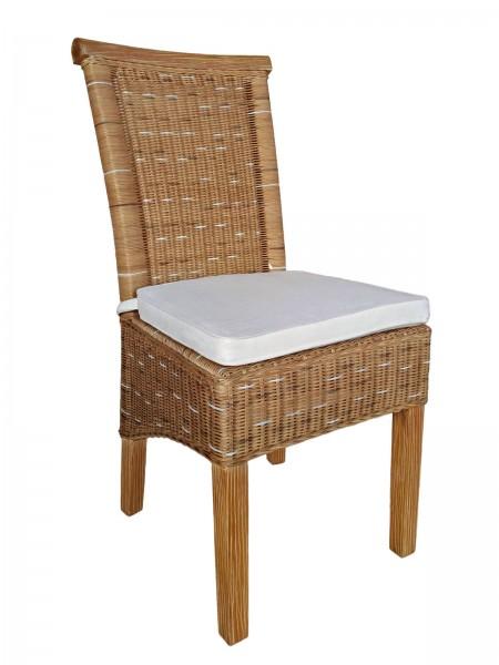 Esszimmer-Stuhl Rattanstuhl natur/braun Perth Sitzkissen Leinen weiß
