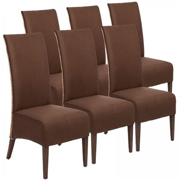 Rattanstühle 6er Set Esszimmer Stühle 6 Stück Polsterstühle Antonio braun Polster Wildleder-Optik
