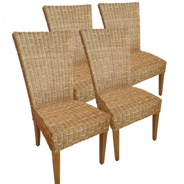 Esszimmer Stühle Rattanstühle Wintergarten Stühle Korbstühle Cardine 4 Stück Stuhl capuccino