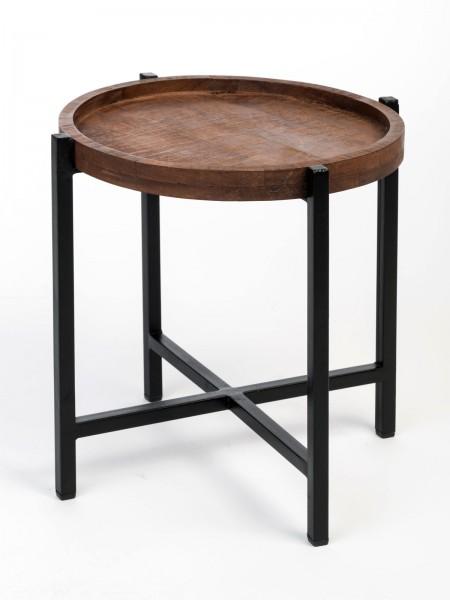 Beistelltisch ø 46 x H 45 cm Couchtisch Wohnzimmer-Tisch rund Omaha Metall-Gestell altsilber/schwarz