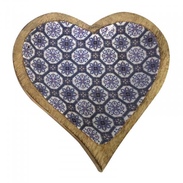 Servierschale Snack Schale Herz 21 x 21 cm Mangoholz mit Keramikdekor lebensmittelgeeignet