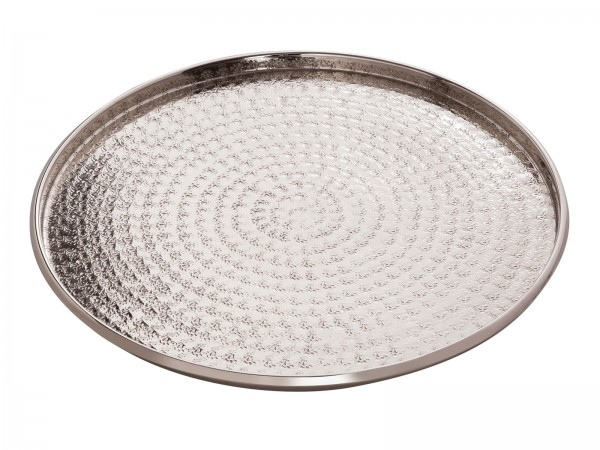 Serviertablett ø 40 cm Deko Tablett Metall Kerzentablett rund silber o. gold Aluminium gehämmert