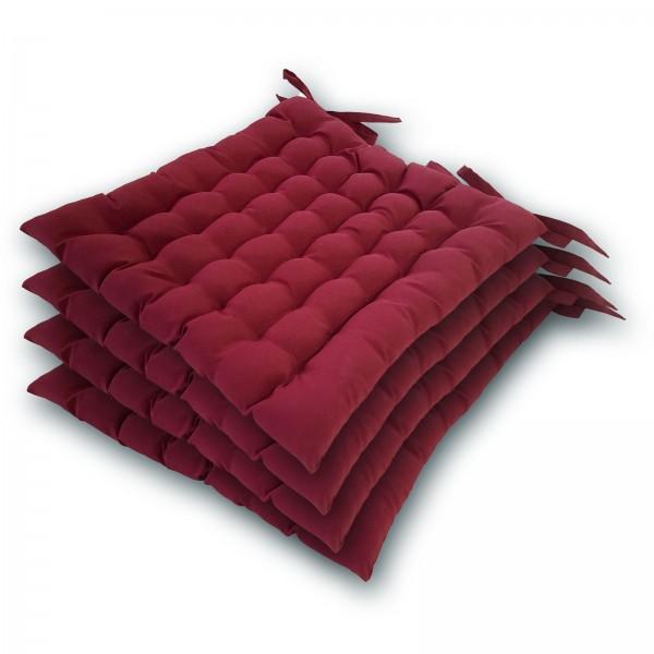 Stuhlkissen 4er Set 36x40cm Sitzkissen Stuhlauflage mit Bindeband 4 Stück Bezug 100% Polyester