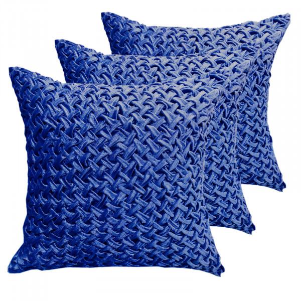 Zierkissen Deko Kissen Set 3 Stück Sofa Kissen Velour Samt 45 x 45 cm Flechtdesign royalblau