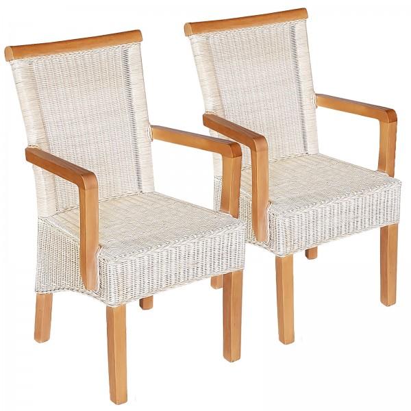 Esszimmer-Stühle-Set mit Armlehnen 2 Stück Rattanstuhl weiß Perth mit/ohne Sitzkissen Leinen weiß