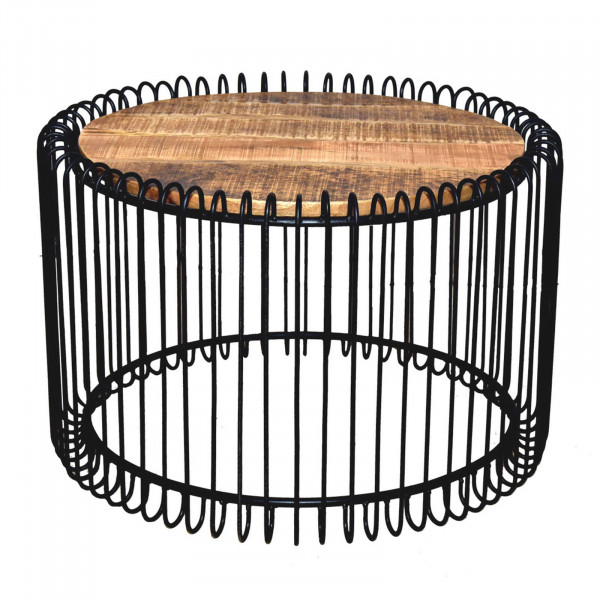 Couchtisch rund ø 70 cm Wohnzimmer Tisch Beistelltisch York Metall-Gestell schwarz matt o. reinweiss