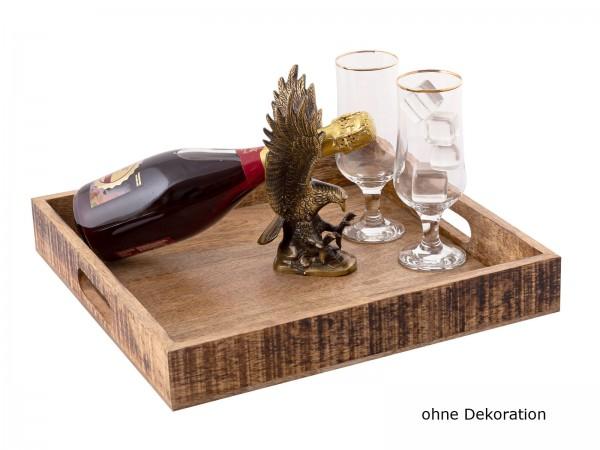 Holztablett Servierbrett Deko Tablett eckig Vintage 40 x 40 cm quadratisch aus Mangoholz massiv