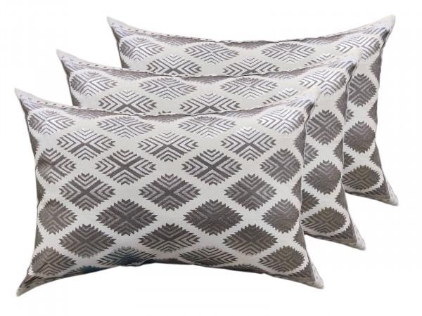 Deko Kissen Set 3 Stück Zierkissen Sofa Kissen 50 x 35 cm Baumwolle metallic silver coolgrey