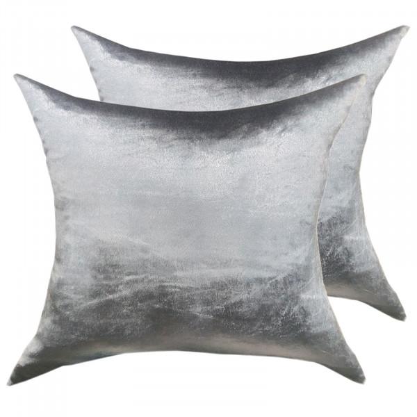 Deko Kissen Zierkissen Set 2 Stück Sofa Kissen Velour Samt 45 x 45 cm glatte Oberfläche silbergrau