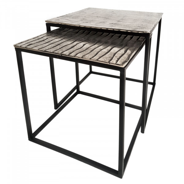 Couchtisch Set Metall 40 u. 35 cm quadratisch Wohnzimmer Tische Tiffany 2-teilig Aluminium versilber
