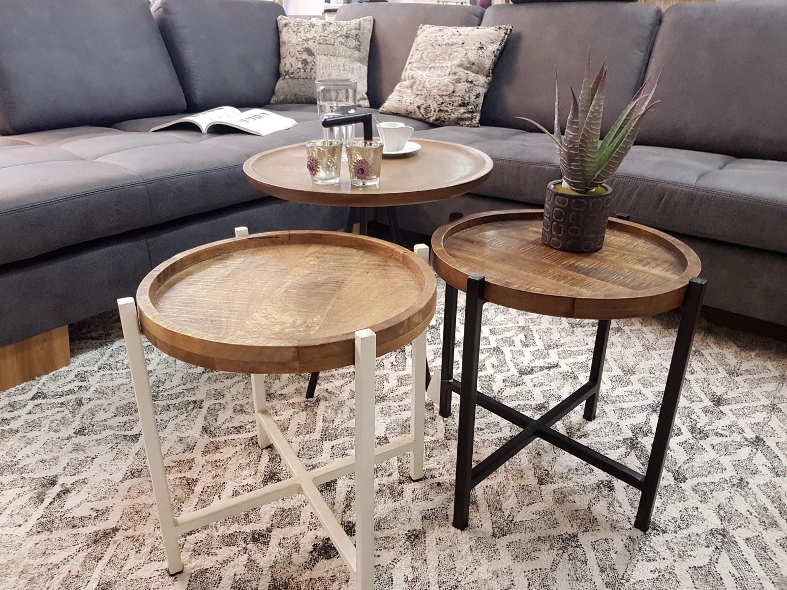 Beistelltisch Wohnzimmer-Tisch rund Omaha, Metall-Gestell ...
