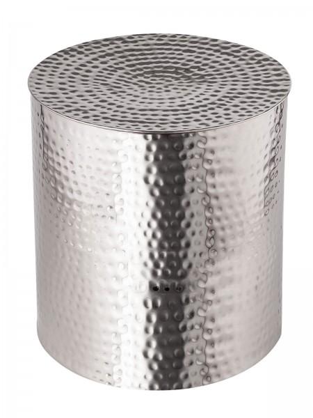 Beistelltisch Metall ø 40 x 45 cm rund Dekotisch Tunis silber o. gold Aluminium gehämmert