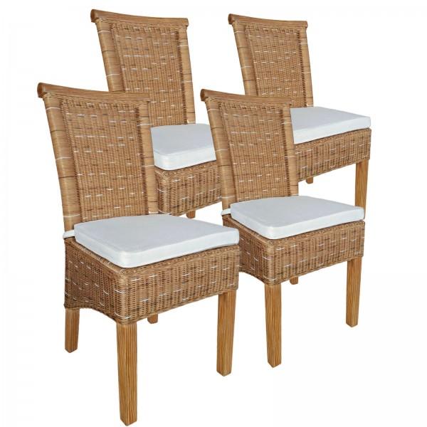 Esszimmer-Stühle Set Rattanstühle Perth 4 Stück weiß oder braun Sitzkissen Leinen weiß