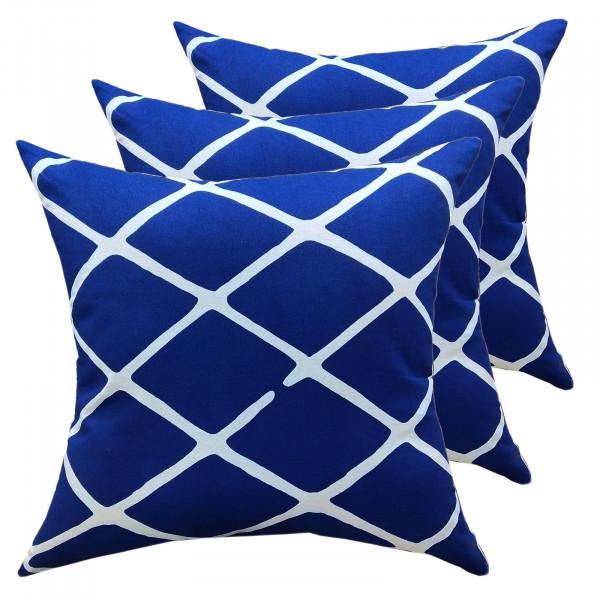 Deko Kissen Set 3 Stück Zierkissen 45 x 45 cm Sofa Kissen Baumwolle Karo-Design blau weiß