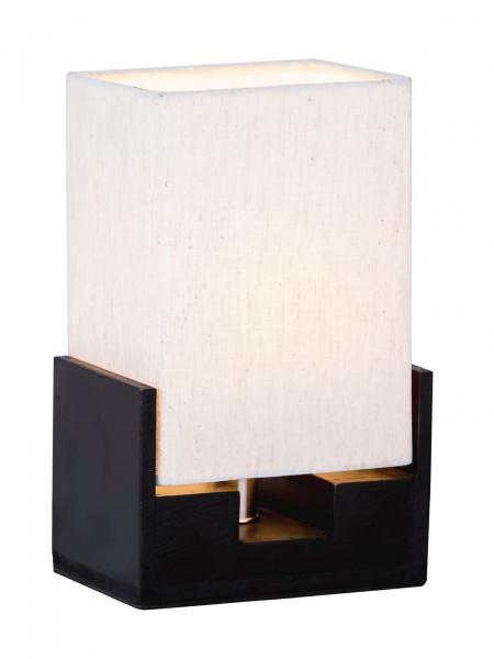 Nachttischlampe Tischlampe B 15 x H 24 cm Tischleuchte Dekolampe mit Holzsockel schwarz