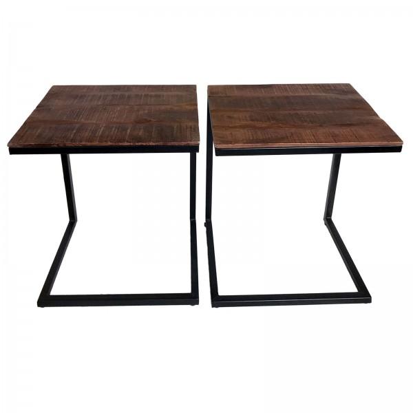 Couchtisch 2er Set Wohnzimmer-Tisch-Set Beistelltisch Atlanta Metall-Gestell altsilber oder schwarz
