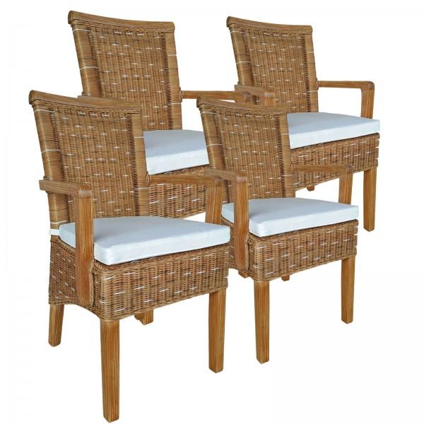 Esszimmer-Stühle-Set mit Armlehnen 4 Stück Rattanstuhl braun Perth mit/ohne Sitzkissen Leinen weiß