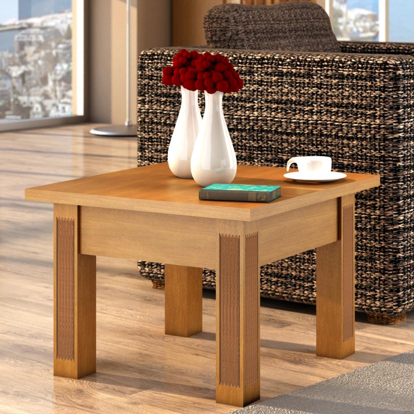 couchtisch quadratisch mit schublade und fester platte pinie massiv 70x70 cm mvg. Black Bedroom Furniture Sets. Home Design Ideas