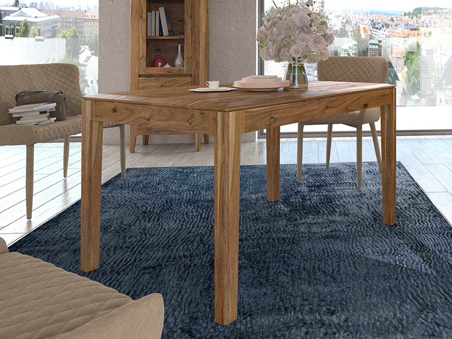 esstisch esszimmer tisch casablanca 130 160 x 80 90 cm akazie massiv in 3 farben mvg. Black Bedroom Furniture Sets. Home Design Ideas