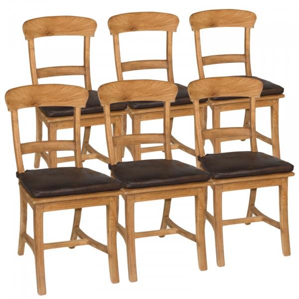 Stuhl-SET Tanja 6 Stück mit Holzsitzfläche Teakholz gebürstet unbehandelt