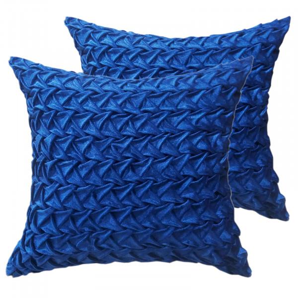 Zierkissen Deko Kissen Set 2 Stück Sofa Kissen Velour Samt 45 x 45 cm Zopfmuster royalblau