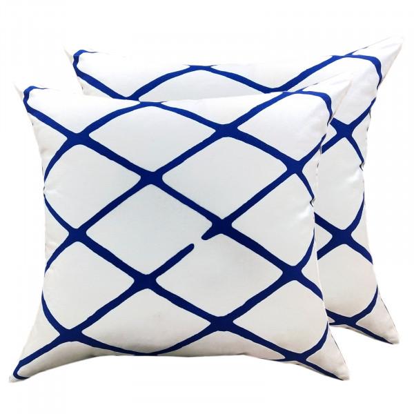 Zierkissen Set 2 Stück Deko Kissen Sofa Kissen Baumwolle 45 x 45 cm Karo-Design weiß blau