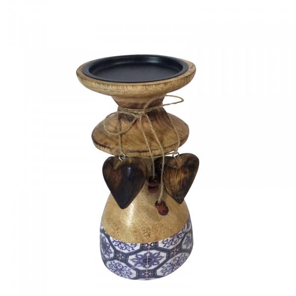 Kerzenständer klein mit 2 Deko Herzen H 20 cm Mangoholz mit Keramikdekor